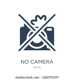 no camera icon vector on white background, no camera trendy filled icons from Signs collection, no camera vector illustration