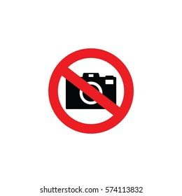 No camera or no photo sign red prohibition vector illustration. No taking picture or no photography sign.