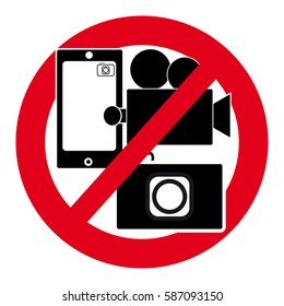 No camera symbol  on white background. Vector illustration.