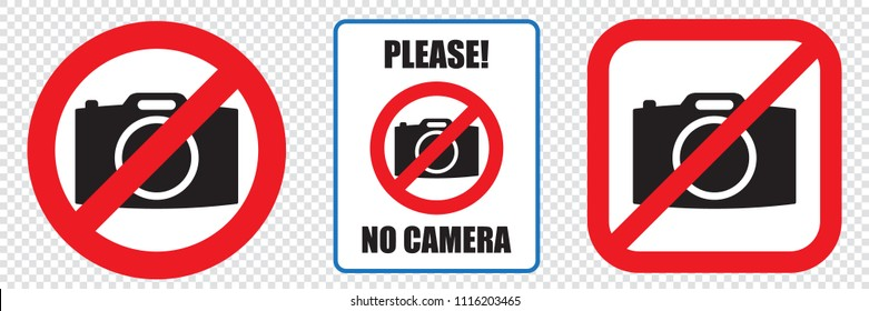 No cameras allowed sign, EPS8. Red prohibition no camera sign. No taking pictures, no photographs sign.