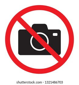 No cameras allowed sign. Red prohibition no camera sign. No taking pictures, no photographs sign.