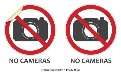 No cameras or photography signs in two vector styles depicting banned activities