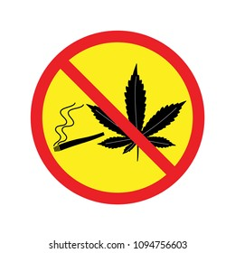 No Cannabis Farm. Marijuana leaf, Medicine. Colorful on yellow background . Vector icon in flat style. isolated .on white background.