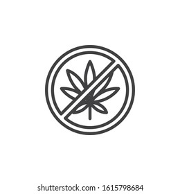 No cannabis line icon. linear style sign for mobile concept and web design. No Hemp Marijuana outline vector icon. Cannabis leaf prohibition symbol, logo illustration. Vector graphics