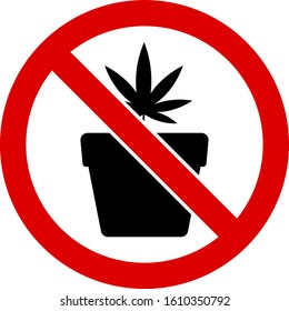 No cannabis pot vector icon. Flat No cannabis pot pictogram is isolated on a white background.