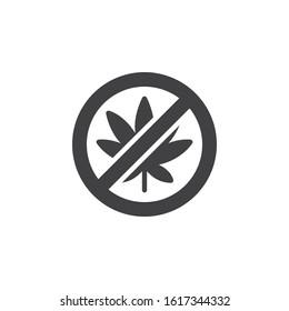 No cannabis vector icon. filled flat sign for mobile concept and web design. No Hemp Marijuana glyph icon. Cannabis leaf prohibition symbol, logo illustration. Vector graphics