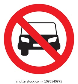 No car or no parking sign, traffic prohibit sign, vector illustration