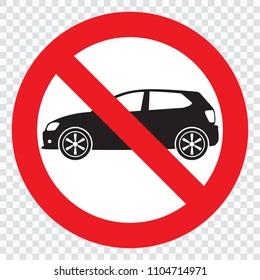 No car or no parking traffic sign, prohibit sign, vector illustration
