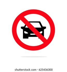 No car sign. Parking prohibited symbol. Restriction icon. Flat design. Vector Illustration.