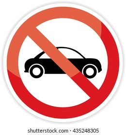 No cars sign on white background.vector illustration
