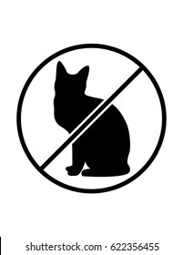 No cats allowed black and white vector symbol
