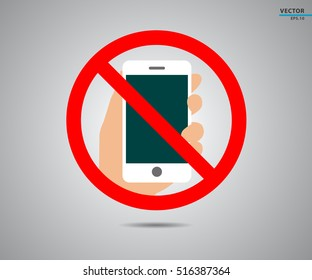 No cell phone, Mobile prohibited, logo vector illustration