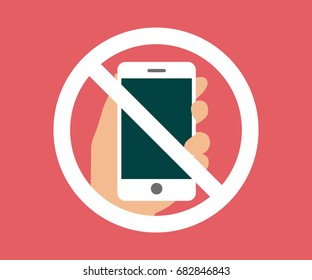 No cell phone, Mobile Phone prohibited, phone logo vector illustration