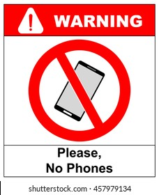 No cell phone sign. Mobile phone ringer volume mute sign. No smartphone allowed icon. No Calling label on white background. No Phone emblem great for any use. Stock Vector Illustration Warning sticker