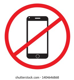 No cell phone sign on white background.