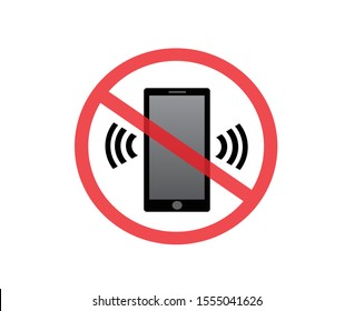 No cell phone sign, please keep your mobile silent mode, prohibited or ban symbol, vector illustration.
