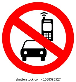No cell phone while driving vector sign isolated on white background
