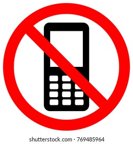 NO CELL PHONES area. Keep quiet symbol. Button mobile phone icon. Vector.