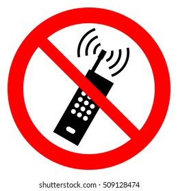 No cell phones. No mobile phones, prohibition sign. Vector illustration.