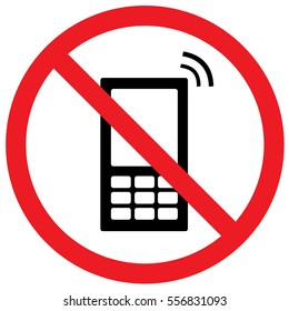No Cell Phones Sign. Vector.