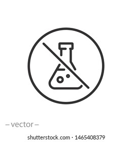no chemical risk icon, no preservative, chemical free thin line symbol for web and mobile phone on white background - editable stroke vector illustration eps 10