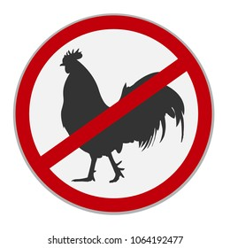 No chicken sign. Dietary restriction. Vector illustration