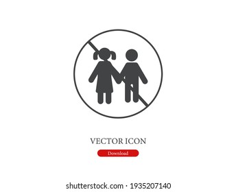 No children vector icon.  Editable stroke. Linear style sign for use on web design and mobile apps, logo. Symbol illustration. Pixel vector graphics - Vector