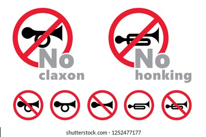 No claxon No honking  No honk No horn horns klaxon zone sign signs icon icons flat Vector Don't Dont Traffic sign The keep be quiet icon sssh trumpet prohibition Do not Silence zoning Caution zone