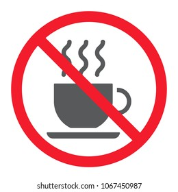 No coffee cup glyph icon, prohibition and forbidden, no tea sign vector graphics, a solid pattern on a white background, eps 10.
