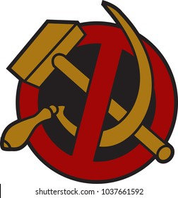 No communism sign, sickle and hammer in a crossed out red circle, illustration isolated on white background, EPS 10 vector
