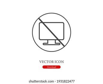 No computer vector icon.  Editable stroke. Linear style sign for use on web design and mobile apps, logo. Symbol illustration. Pixel vector graphics - Vector
