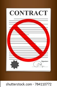 No Contracts Forms Paper Signed and Sealed Written in Black and White on Brown Background