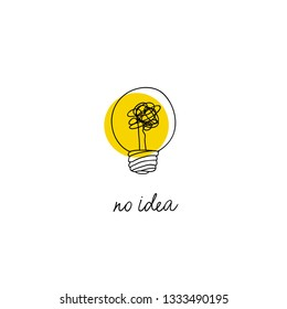 no creativity complicated idea concept illustration. simple line light bulb with yellow background and tangled filament thread vector design.