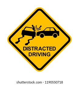 No Distracted Driving Sign, Yellow warning sign