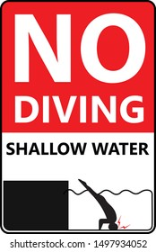 No Diving danger sign for shallow water