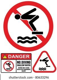 No diving and jumping, hazard-warning sign.