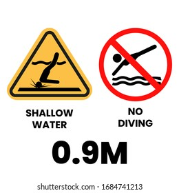 No Diving Sign Vector. Water Safety Symbol Vector Icon. Eps 10 vector illustration.