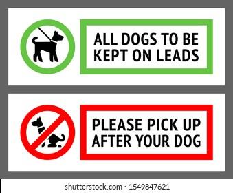 No dog fouling, or dogs kept on a lead labels, new set vector illustration