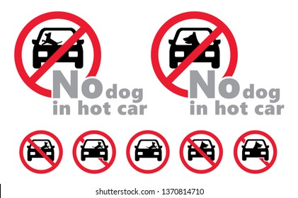 No dog in hot car dog inside car in the sun as heat stroke sticking sweating Vector fun funny  road icons icon sign signs symbol Dangers leaving parked  Kills pets pet Hot dogs weather No Ban stop