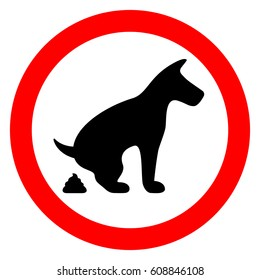 No dog pooping restricted sign vector on white background