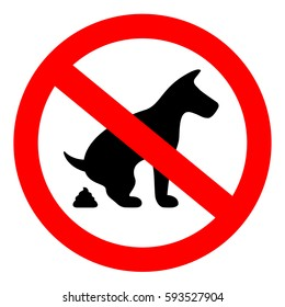 No dog pooping vector eps round sign on white background