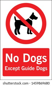 No dogs allowed except guide dogs