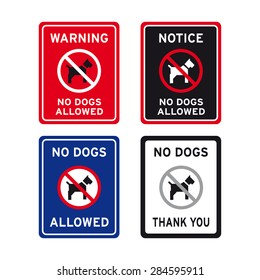 No dogs allowed sign vector set