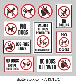no dogs signs, dog prohibited labels