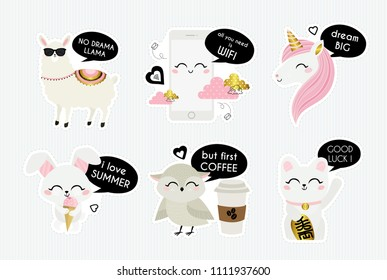 No drama llama. All you need is wifi. Dream big. I love summer. But first Coffee. Good luck! Cute vector stickers.  Cartoon animal characters. Llama, smart phone, unicorn, rabbit, owl, maneki-neko.