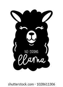No drama llama cute card with cartoon llama. Llama motivational and inspirational quote. Cute  llama drawing with lettering isolated on white backround, hand drawn vector illustration.