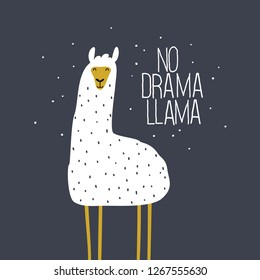 No drama llama cute card with cartoon llama. Cute llama drawing with lettering, hand drawn vector illustration for cards, t-shirts, cases. funny alpaca on a background of the starry sky.