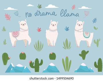 No drama llama cute cartoon set with lettering vector illustration. Collection consists of white lama, alpaca, mountains, cactus and positive inscription. Design for invitations, birthday, room decor