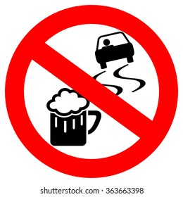 No drink and drive vector sign isolated on white background