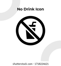 No Drink Icon with Glyph Style, Vector Editable